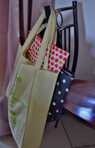 Part of our stash of shopping bags, ready to grab anytime.