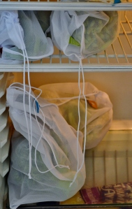 Some mesh bags in our fridge holding green beans, broccoli, and cauliflower.